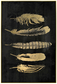 Picture of Golden Feathers Framed Canvas